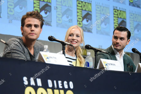 """Paul Wesley, from left, Candice Accola and Michael Malarkey attend """"The Vampire Diaries"""" panel on day 4 of Comic-Con International, in San Diego"""