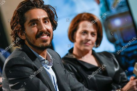 """Actors Dev Patel, left, and Sigourney Weaver participate in AOL's BUILD Speaker Series to discuss their new film """"Chappie"""" at AOL Studios, in New York"""