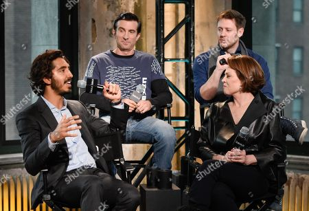 """Actors Dev Patel, left, Sharlto Copley, Sigourney Weaver and writer/director Neill Blomkamp participate in AOL's BUILD Speaker Series to discuss their new film """"Chappie"""" at AOL Studios, in New York"""
