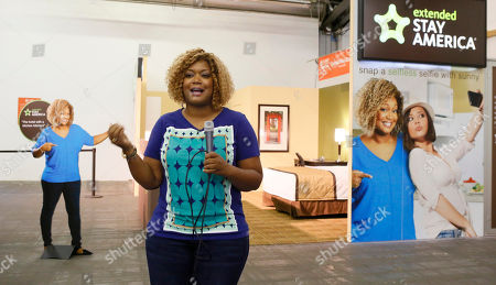 Stock Picture of Food Network host Sunny Anderson is pictured outside the Extended Stay America traveling hotel room, seen at the New York City Wine & Food Festival