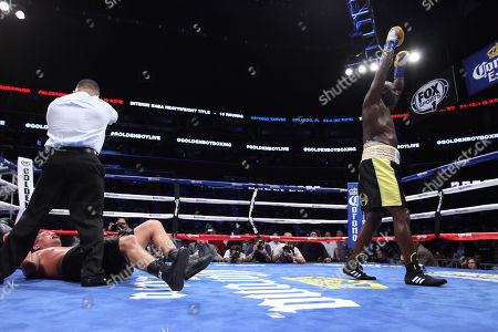 "Heavyweight Antonio Tarver celebrates after knocking out Mike Sheppard in the 4th round during the ""Golden Boy Boxing Live! Presents Tarver vs Sheppard"" on Tuesday, Nov., 26, 2013 at the BB&T Center in Sunrise, FL"