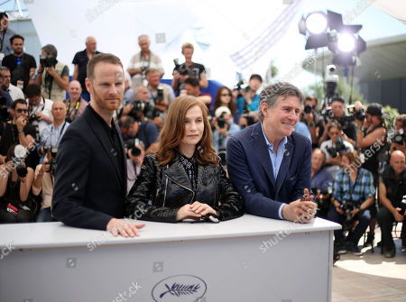 Joachim Trier, Isabelle Huppert and Gabriel Byrne during a photo call for the film Louder than Bombs, at the 68th international film festival, Cannes, southern France