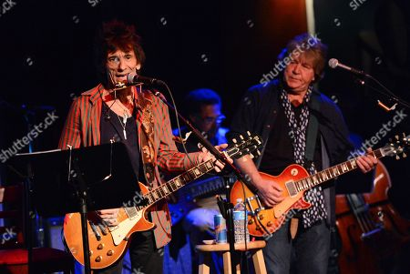 Musician Ronnie Wood, left, of the Rolling Stones performs with guitarist Mick Taylor, in a rare club appearance at The Cutting Room on in New York