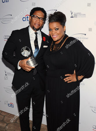"DL Hughley and Yvette Nicole Brown pose in the press room at the Academy of Television Arts & Sciences Presents ""The 6th Annual Television Honors"" at the Beverly Hills Hotel on in Beverly Hills, Calif"