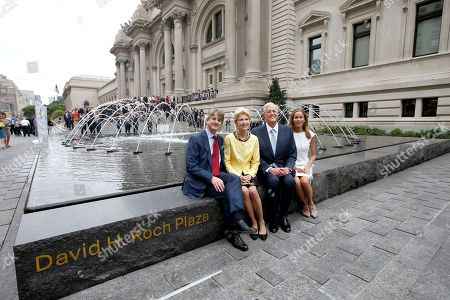 "From left, Museum Director, Thomas P. Campbell, President of the Metropolitan Museum of Art, Emily K. Rafferty, David H. Koch, and Julia Koch as seen at the unveiling of the Metropolitan Museum of Art's new ""David H. Koch Plaza,"" on Tues., in New York"