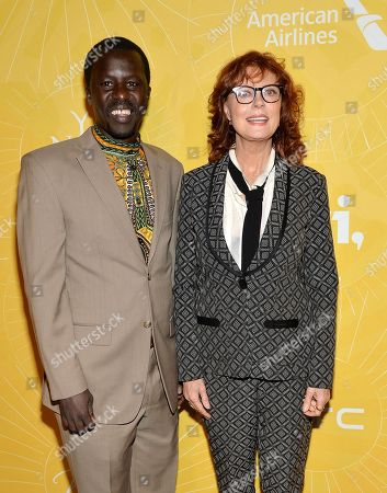 "Actress Susan Sarandon, right, and Hope North founder Okello Sam attend Variety's ""Power of Women: New York"" luncheon at Cipriani Midtown on in New York"