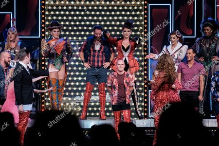 Jamie Laing, with Simon-Anthony Rhoden (Lola), David Hunter (Charlie) and the cast of 'Kinky Boots'