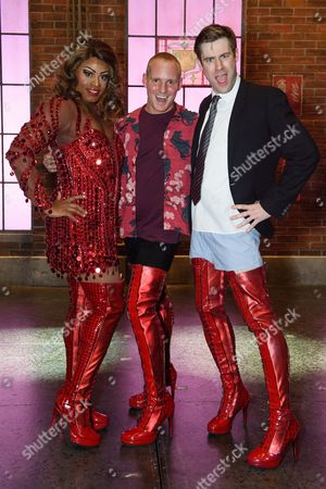 Jamie Laing poses with Simon-Anthony Rhoden (Lola) and David Hunter (Charlie)