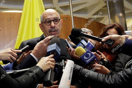 Director General Emeritus of the Intenational atomic Energy Agency and Nobel Peace laureate Mohamed ElBaradei talks to reporters during a break of a conference on nuclear disarmament, at the Vatican, . The Vatican hosted Nobel laureates, U.N. and NATO officials and a handful of nuclear powers at a conference aimed at galvanizing support for a global shift from the Cold War era policy of nuclear deterrence to one of total nuclear disarmament