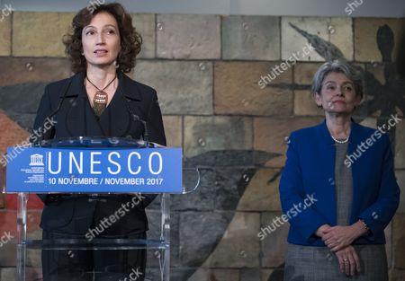 Stock Photo of Audrey Azoulay and Irina Bokova