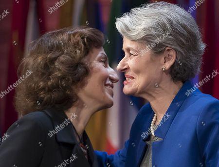 Audrey Azoulay and Irina Bokova