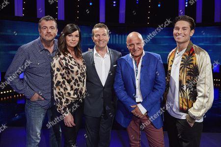 (l-r) Mark Billingham, Lucy Pargeter host Bradley Walsh, Aldo Zilli and Joey Essex