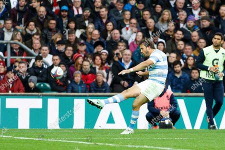 Stock Photo of Juan Martin Hernandez of Argentina kicks his penalty kick