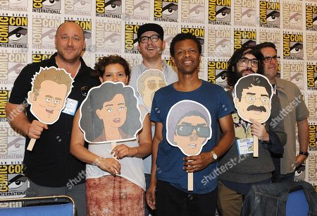 """Stock Picture of From left, Will Sasso, Justina Machado, Peter Atencio, Phil Lamarr, creator Jason Ruiz, and creator David A. Goodman attend the FOX """"Murder Police"""" booth signing on Day 2 of Comic-Con International on in San Diego, Calif"""