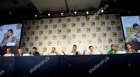"From left, writer Matt Thompson, director/writer Adam Reed, actors Eugene Mirman, H. Jon Benjamin, Aisha Tyler, Chris Parnell, Amber Nash and Lucky Yates attend the FX ""Archer"" panel on Day 3 of Comic-Con International on in San Diego, Calif"