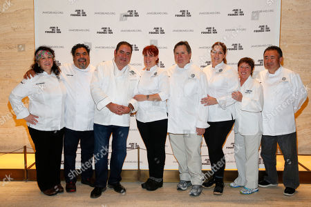 IMAGE DISTRIBUTED FOR JAMES BEARD FOUNDATION - Chef Carrie Nahabedian, Chef Guillermo Tellez, Chef Emeril Lagasse, Pastry Chef Mindy Segal, Chef Norman Van Aken, Chef Michelle Gayer, Chef Janet Van Aken, and Chef Tetsuya Wakuda seen at the 2014 James Beard Foundation Gala: Celebrating Charlie Trotter and the New American Cuisine at the Four Seasons Restaurant, on in New York