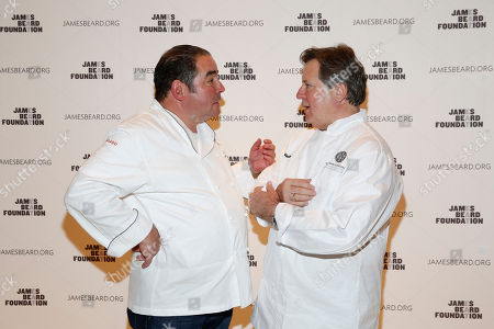 Chef Norman Van Aken and Chef Emeril Lagasse seen at the 2014 James Beard Foundation Gala: Celebrating Charlie Trotter and the New American Cuisine at the Four Seasons Restaurant, on in New York