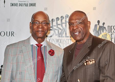 Olympic Gold Medalist Bob Beamon, left, and baseball star Andre Dawson attend Destination Fashion 2016 to Benefit the Buoniconti Fund to Cure Paralysis at Bal Harbour Shops, in Bal Harbour, Fla