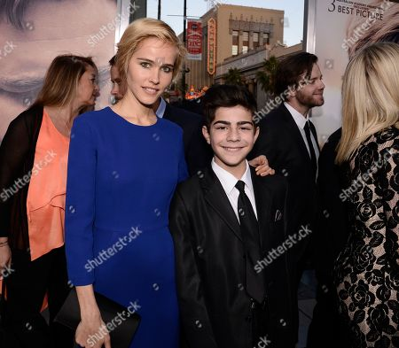 """Stock Image of Actress Isabel Lucas, left, and actor Dylan Georgiades attend the premiere of the feature film """"The Water Diviner"""" in Los Angeles on"""