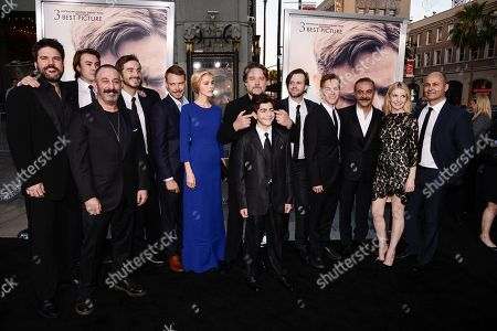 "From left to right, producer Keith Rodger, actor Ben O'Toole, actor Cem Yilmaz, actor Ryan Corr, actor Michael Dorman, actress Isabel Lucas, actor and director Russell Crowe, actor Dylan Georgiades, actor Chris Sommers, actor James Fraser, actor Yilmaz Erdogan, actress Jacqueline McKenzi, and actor Steve Bastoni attend the premiere of the feature film ""The Water Diviner"" in Los Angeles on"