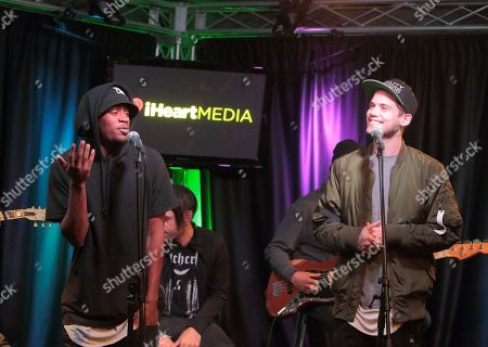 Malcolm Kelley, left, and Tony Oller of the band MKTO visit the Q102 Performance Theater, in Philadelphia