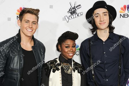 "Stock Picture of From left, Ryan Sill, Anita Antoinette and Taylor John Williams arrive at Season 7 Of ""The Voice"" Red Carpet Event, in Universal City, Calif"