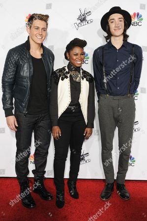 "From left, Ryan Sill, Anita Antoinette and Taylor John Williams arrive at Season 7 Of ""The Voice"" Red Carpet Event, in Universal City, Calif"