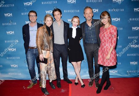 "Creator, writer and executive producer Sam Shaw, left, actors Mamie Gummer, Ashley Zuckerman, Rachel Brosnahan, John Benjamin Hickey and Katja Herbers attend the season two celebration of WGN America's ""Manhattan"", at the SVA Theatre on in New York"