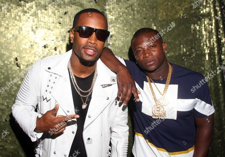 """Recording artist Safaree Samuels and O.T Genasis seen at The Shade Room's """"Shades of Eden"""" 1st Anniversary Celebration at a private mansion on Saturday, June 4th, 2016, in Los Angeles, California"""