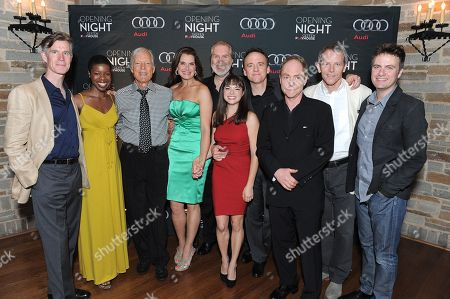 """COMMERCIAL IMAGE - The cast of """"The Exorcist"""" - (L-R) Tom Nelis, Roslyn Ruff, Richard Chamberlain, Brooke Shields, Harry Groener, Emily Yetter, David Wilson Barnes, Teller, Stephen Bogardus and Manoel Felciano - attends the world premiere opening of """"The Exorcist"""" at the Geffen Playhouse on in Westwood, California"""