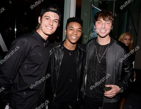 """From left to right, singer Kenny Holland, Josh Levi, and Wesley Stromberg attend the announcement of The Balcony's partnership with unite4good as Global Youth Ambassadors at their YouTube channel and """"Fire"""" music video launch at the W Hollywood, in Los Angeles"""