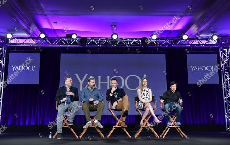 """Executive Producer Chris McKenna, from left, Creator/Executive Producer Dan Harmon, Joel McHale, Gillian Jacobs, and Ken Jeong speak during the Yahoo! """"Community"""" panel at Winter TCA at the Langham Hotel, in Pasadena, Calif"""