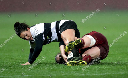 Munster Women vs Barbarian Women. Munster's Rachel Allen with Amanda Thornborough of Barbarian Women
