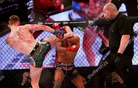 Men's Featherweight Bout. AJ McKee vs Brian Moore . Brian Moore lands a kick on AJ McKee