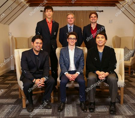 Stock Picture of 2016 Chess Olympiad Gold Medal winning American Team (L-R) Front Row: Hikaru Nakamura, Fabiano Caruana, Wesley So; Back Row: Ray Robson, Team Captain John Donaldson, Sam Shankland at the Global Moves: Americans in Chess Olympiads opening reception at the World Chess Hall of Fame, in St. Louis