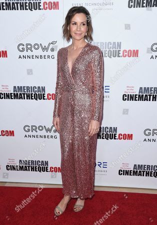Embeth Davidtz arrives at the 31st annual American Cinematheque Award at the Beverly Hilton Hotel, in Beverly Hills, Calif