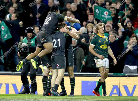 Ireland vs South Africa. Ireland?s Jacob Stockdale celebrates scoring his sides fourth try with Sean O?Brien, Kieran Marmion and Bundee Aki