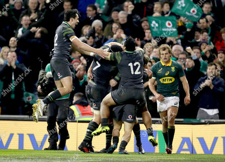 Ireland vs South Africa. Ireland?s Jacob Stockdale celebrates scoring his sides fourth try with Sean O?Brien, Kieran Marmion, Bundee Aki and Joey Carbery