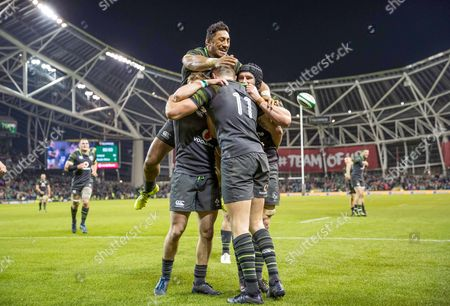 Ireland vs South Africa. Ireland's Sean O?Brien, Bundee Aki and Kieran Marmion congratulate try scorer Jacob Stockdale