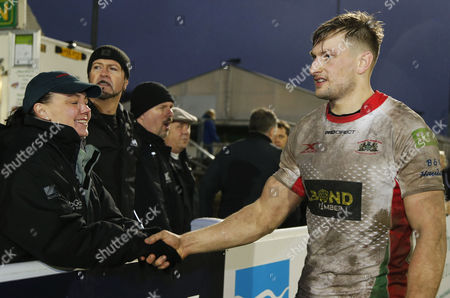 George Mills of Plymouth Albion shakes hands with Plymouth Albion fans after the win for their support during the National Division 1 match between Plymouth Albion v Ampthill at the Brickfields Recreation Ground, on November 11th 2017, Plymouth, Devon, UK.