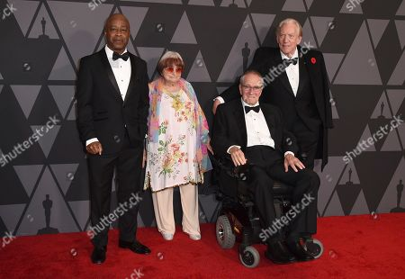 Charles Burnett, Agnes Varda, Owen Roizman, Donald Sutherland. Charles Burnett, from left, Agnes Varda, Owen Roizman and Donald Sutherland arrive at the 9th annual Governors Awards at the Dolby Ballroom, in Los Angeles