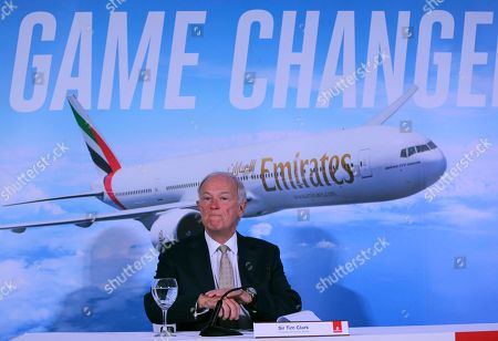 Emirates President Tim Clark speaks to the journalists during a press conference at the opening day of the Dubai Air Show, United Arab Emirates
