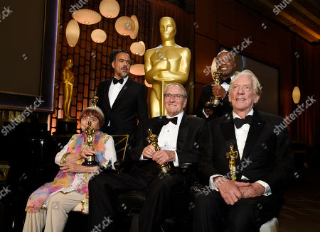 Agnes Varda, Owen Roizman, Alejandro Gonzales Inarritu, Donald Sutherland, Charles Burnett. 2017 Governors Awards honorees, left, to right, Agnes Varda, Alejandro Gonzalez Inarritu, Owen Roizman, Charles Burnett and Donald Sutherland pose with their Oscars following a ceremony at The Ray Dolby Ballroom, in Los Angeles