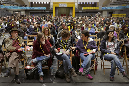 Pro-independence Catalonian party CUP's members, including leaders Julia de Jodar (2-L), Mireia Vehi (3-L), Natalia Sanchez (2-R) and Anna Gabriel (R), take part in a party's extraordinary national assembly meeting in Granollers, Barcelona, northeastern Spain, 12 November 2017. The party has to decide the way in which the party will take part in December 21 Catalonian regional election.