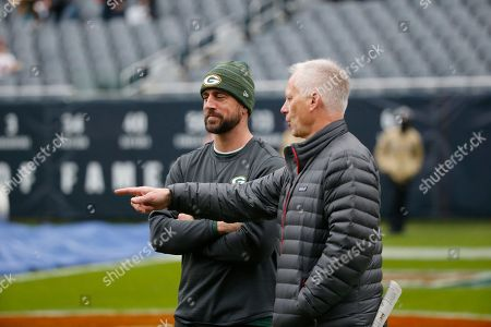 Aaron Rodgers, Kenny Mayne. Green Bay Packers' Aaron Rodgers, talk to ESPN's Kenny Mayne before an NFL football game against the Chicago Bears, in Chicago