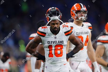 Cleveland Browns wide receiver Kenny Britt (18) watches against the Detroit Lions during an NFL football game in Detroit