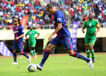Stock Image of Barcelona FC legend Rivaldo in action during an exhibition soccer match played between Zimbabwe legends and the Barcelona legends at the  National Sports Stadium, Harare, Zimbabwe, 12 November 2017. The match was organised to promote Zimbabwe as a safe tourist destination and also to help to establish links between Zimbabwe and Barcelona soccer.