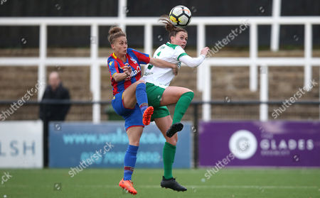 Stock Photo of Nikita Whinnett of Crystal Palace Ladies battles for the ball with Tiffany Taylor of Chichester City Ladies during The Women's Premier League South match between Crystal Palace Ladies and Chichester City Ladies, 12th November 2017 at Hayes Lane Stadium, Bromley.