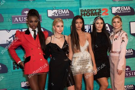 Stock Picture of MTV It Girls Leomie Anderson, Caroline Daur, Cindy Kimberly, Monica Geuze and Sofia Reyes pose for photographers upon arrival at the MTV European Music Awards 2017 in London, Sunday, Nov. 12th, 2017