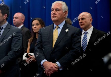 Stock Image of Dina Powell, H.R. McMaster, Rex Tillerson. Secretary of State Rex Tillerson, center, National Security Adviser H.R. McMaster, right, and White House deputy national security adviser Dina Powell, third from right, attend a meeting with President Donald Trump, Japanese Prime Minister Shinzo Abe and Australian Prime Minister Malcolm Turnbull at the ASEAN Summit at the Sofitel Philippine Plaza, in Manila, Philippines. Trump is on a five country trip through Asia traveling to Japan, South Korea, China, Vietnam and the Philippines